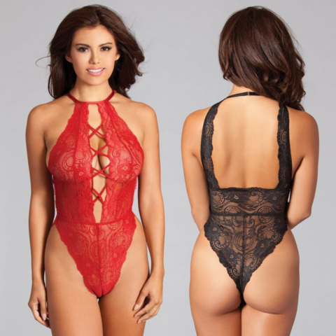 High Neck Criss-Cross Front Lace Teddy