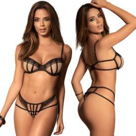 Mapale Sheer Mesh and Straps Two Piece Set
