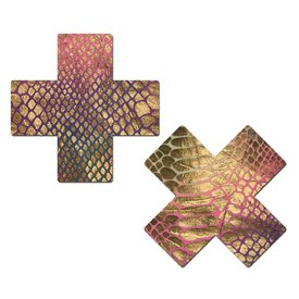 Pastease Gold Holographic Snake Print Pasties