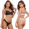 Microfiber and Galloon Lace Two Piece Set