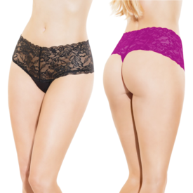 Coquette Floral Lace High Waisted Thong - One Size Fits Most