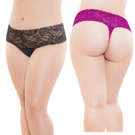 Coquette Floral Lace High Waisted Thong - Queen