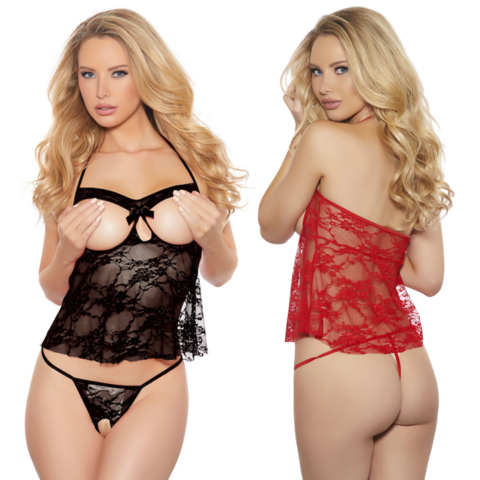 Sheer Lace Cupless and Crotchless Cami Set