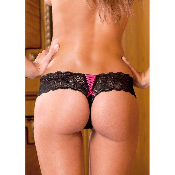 Rene Rofe Crotchless Lace Up Thong