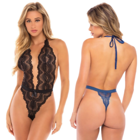 Oh La La Cheri High Leg Scalloped Lace Teddy