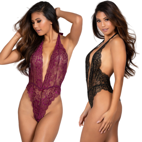 Lusty Lurex Floral Lace Teddy - One Size Fits Most