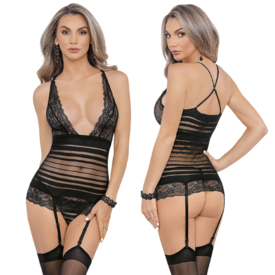 Escante Radiated Striped Mesh and Lace Bustier