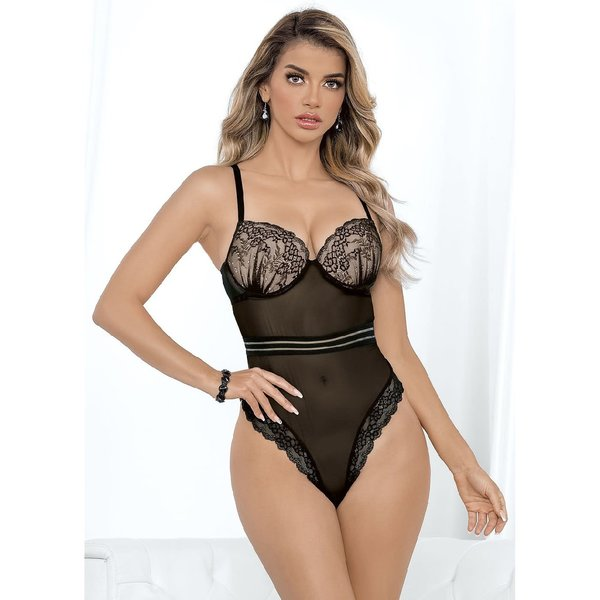 Escante Floral Ruched Cup High Waist Teddy