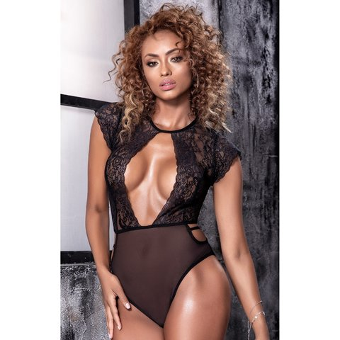 Keyhole Front High Neck Lace and Mesh Teddy