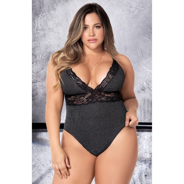 Mapale Lace and Shimmer Ribbed Knit Teddy - Curvy