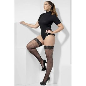 Fever/Smiffys Fishnet Lace Top Black Stay-up Thigh High - Plus Size