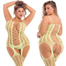 Rene Rofe Blacklight Reactive Crochet Front Gartered Bodystocking - Yellow - Curvy