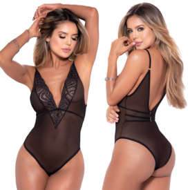 Mapale Shimmering Lace and Mesh Teddy