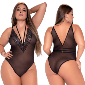 Mapale Shimmering Lace and Mesh Teddy - Curvy