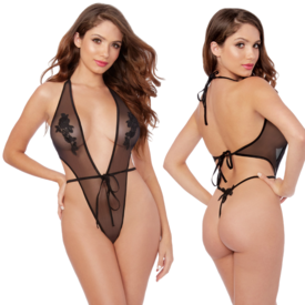 Dreamgirl Plunge Neck Sheer Mesh Teddy - One Size Fits Most