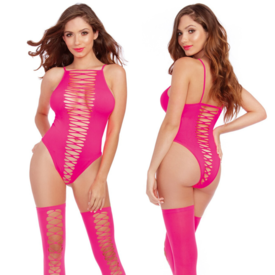 Dreamgirl Opaque Seamless Teddy with Thigh Highs - Neon Pink