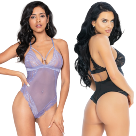 Seven 'til Midnight Strappy Cup Lace and Mesh Teddy