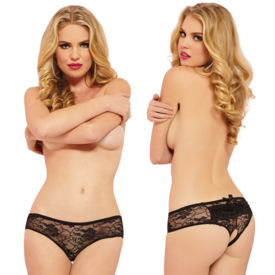 Seven 'til Midnight Lace Open Crotch Boyshort with Ruffles Black