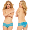 Lace Open Crotch Boyshort with Ruffles Turquoise