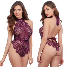 Dreamgirl Merlot Ribbon Tie Back Eyelash Lace Teddy - One Size Fits Most