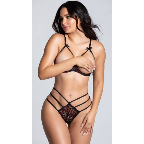 Shelf Cup Bra and Strappy Panty Set
