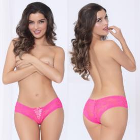 Seven 'til Midnight Ribbon Front Lace-Up Crotchless Panty Pink