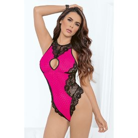 Escante Hot Pink Floral Mesh and Lace Keyhole Teddy