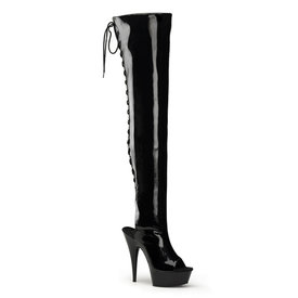 "Pleaser 6"" Patent Open Toe/Heel Thigh High Boot"