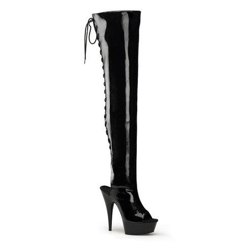 "6"" Patent Open Toe/Heel Thigh High Boot"