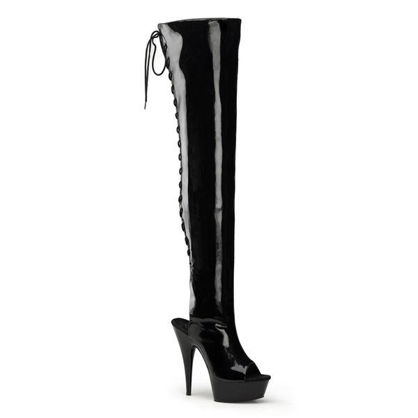 "Pleaser 6"" Patent Open Toe/Heel Thigh High Boot"
