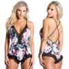 White Floral Printed Romper with Lace