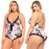 White Floral Printed Romper with Lace - Curvy