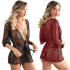 Allure Sheer Leopard Lace Robe - One Size Fits Most