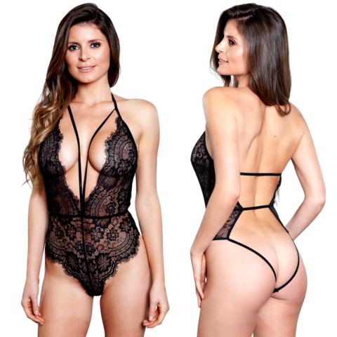 Diana Plunge Neck Open Back Teddy