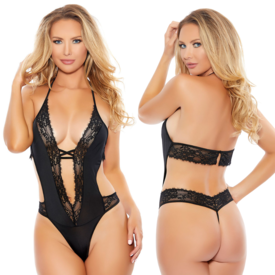 Popsi Plunging Halter Lace Teddy