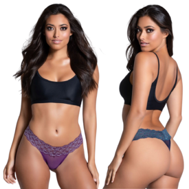 Popsi Contrast Lace Thong