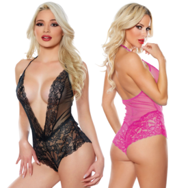 Allure Sheer Mesh and Lace Romper - One Size Fits Most