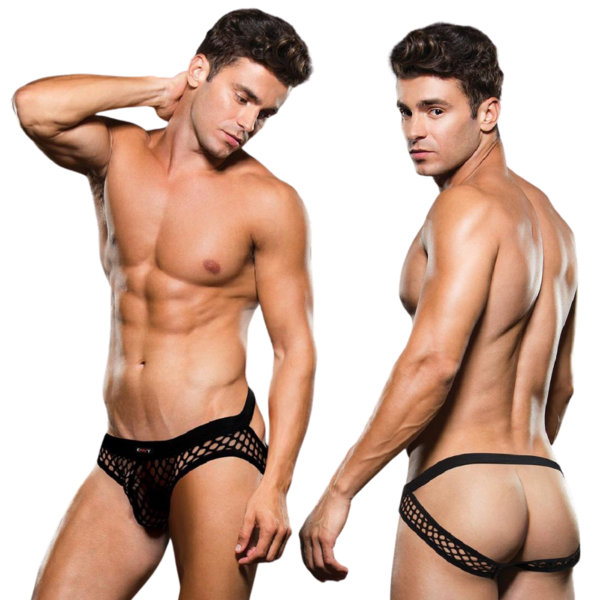 Envy Black Fishnet Open Back Brief