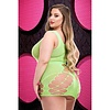 Criss-Cross Mini Dress - Neon Green - Curvy