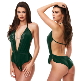 Baci Emerald Satin Open Crotch Romper