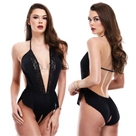 Baci Black Satin Open Crotch Romper