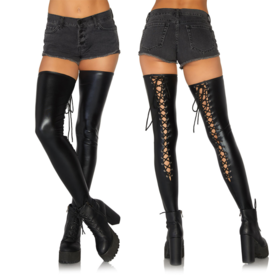 Leg Avenue Wet Look Footless Lace-Up Thigh Highs
