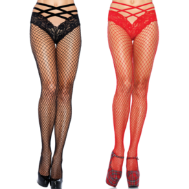 Leg Avenue Industrial Net Pantyhose with Attached Cage Strap Panty