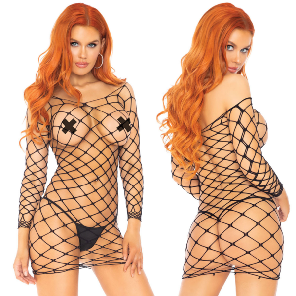 Leg Avenue Crochet Net Long Sleeve Mini Dress