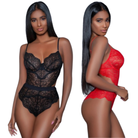 Be Wicked Sheer Lace Teddy with Cutouts