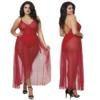 Mosiac Mesh Teddy with Mesh Skirt - Rouge - Curvy