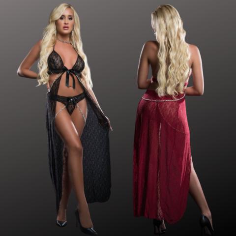 Open Front Cutout Gown Set