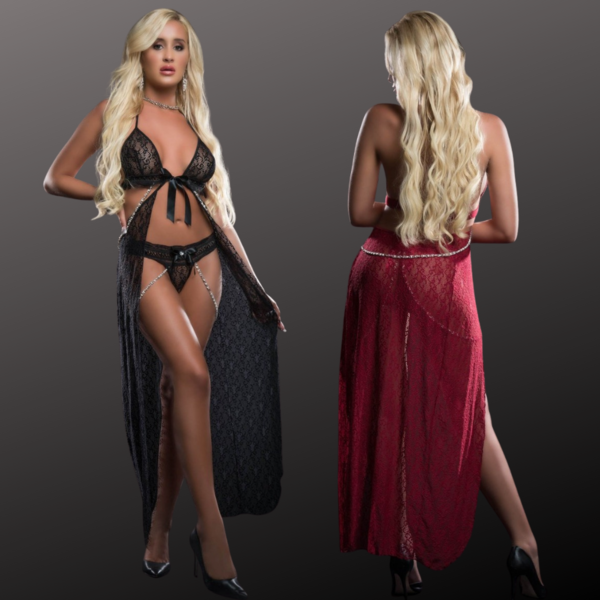 G World  Intimates Open Front Cutout Gown Set