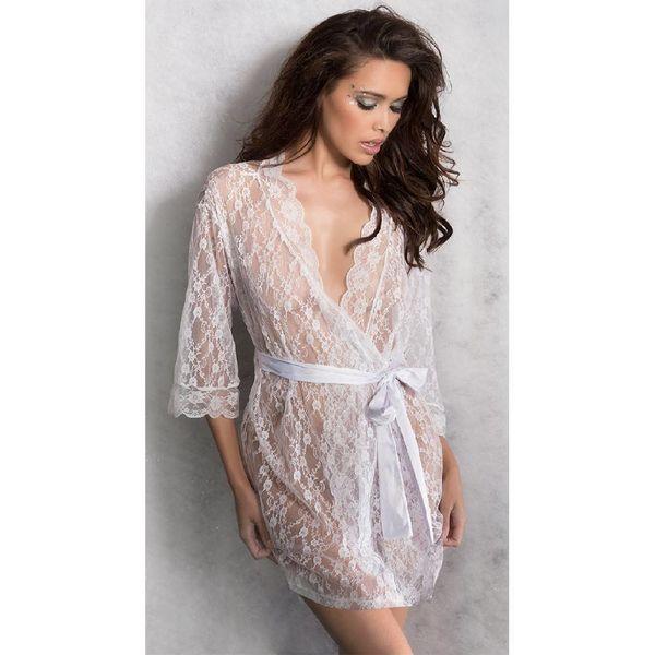 Oh La La Cheri Scalloped Lace Robe And Satin Sash White