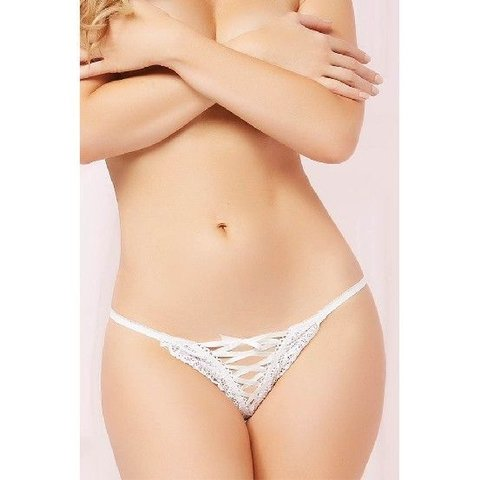 Galloon Lace Up Thong White